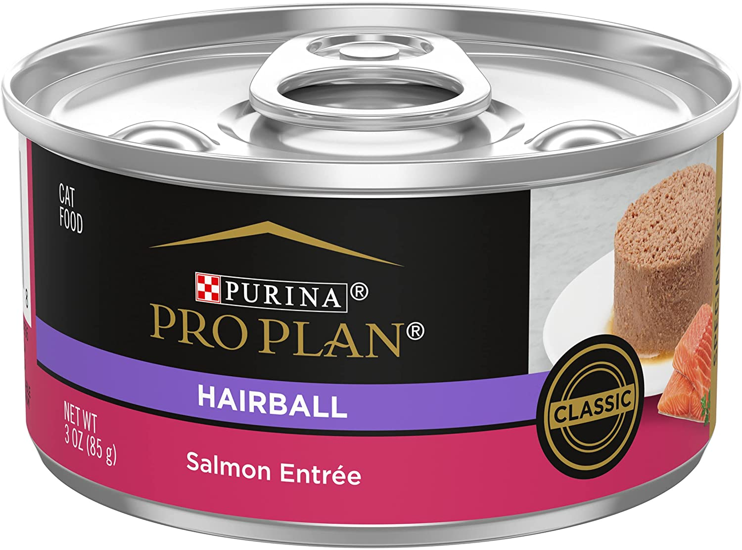 Purina Pro Plan Hairball Control, Pate Wet Cat Food, Specialized Hairball Salmon Entree - (24) 3 oz. Cans