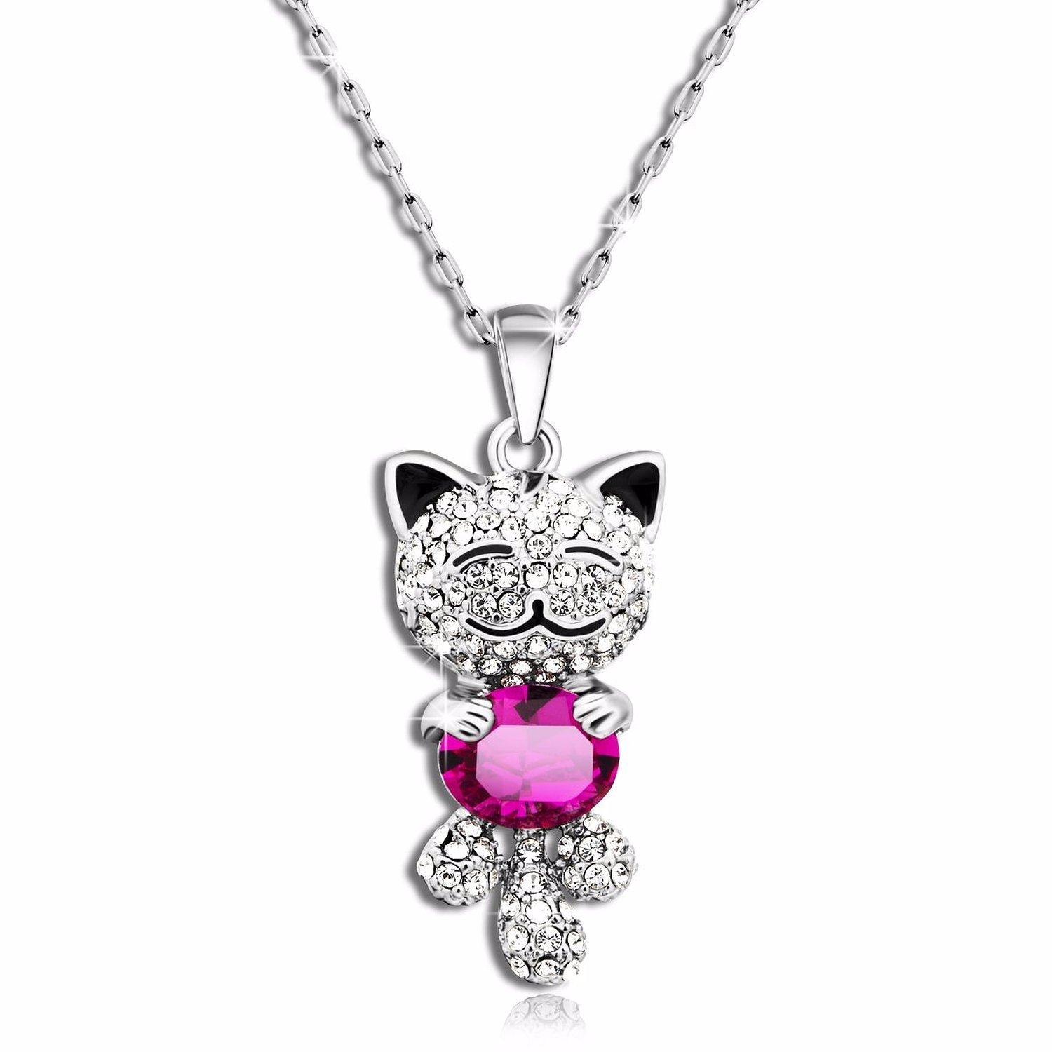 "Amazon Caperci Cute ""Lucky Cat"" With SWAROVSKI ELEMENTS Blue"