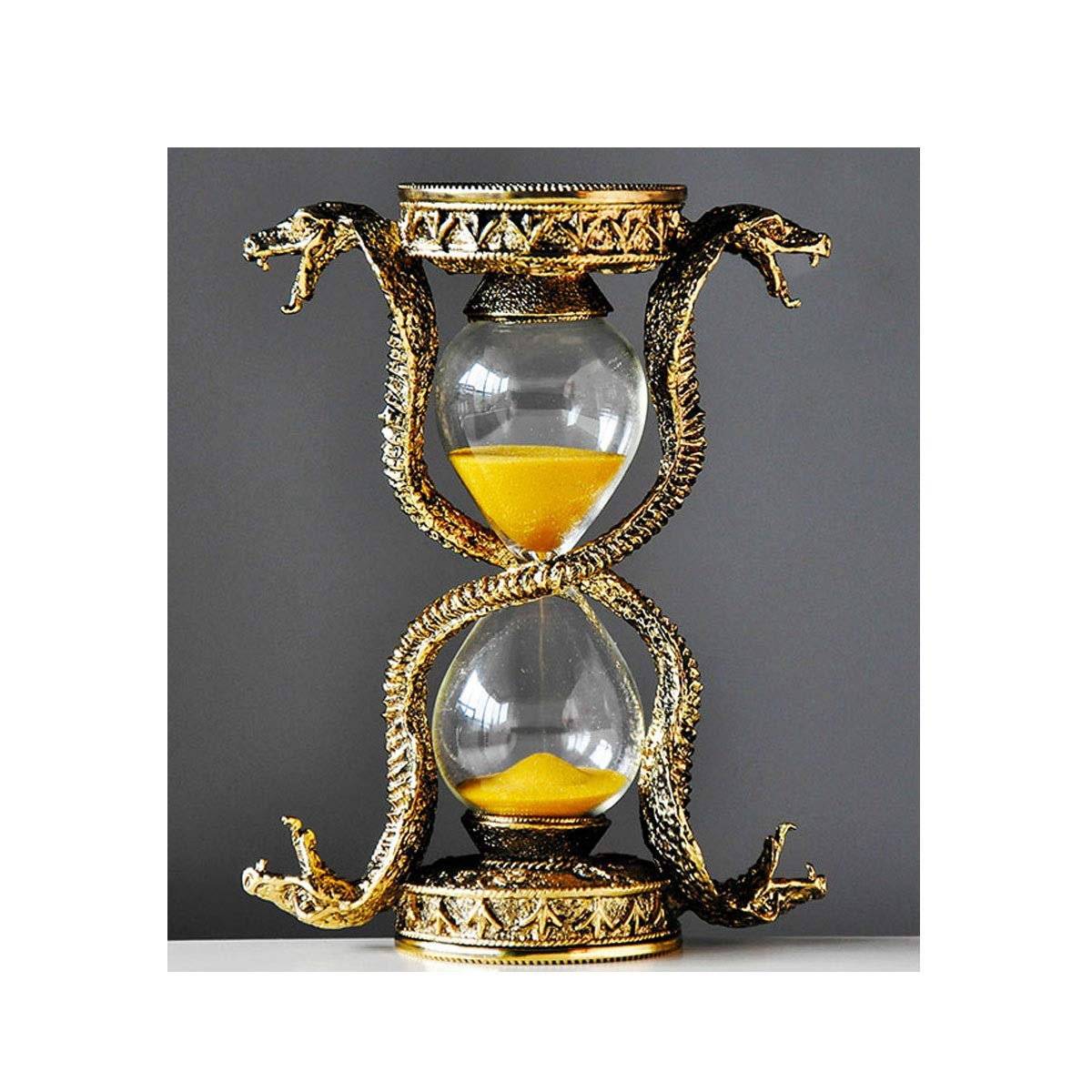 Jiansheng01 Hourglass, A Iron Material and Glass Made of A Desktop Atmosphere Decorative Hourglass, Suitable As A Gift, with A Box, Brass Color (12 15.5cm / 4.8 6.2 Inches) Comfortabl