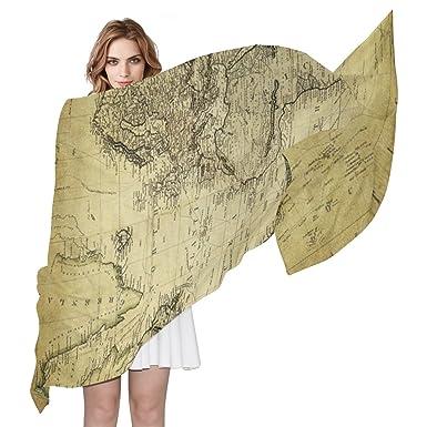 Bennigiry lady vintage world map print silk scarf scarves infinity bennigiry lady vintage world map print silk scarf scarves infinity lightweight long sheer wrap shawl for gumiabroncs Images