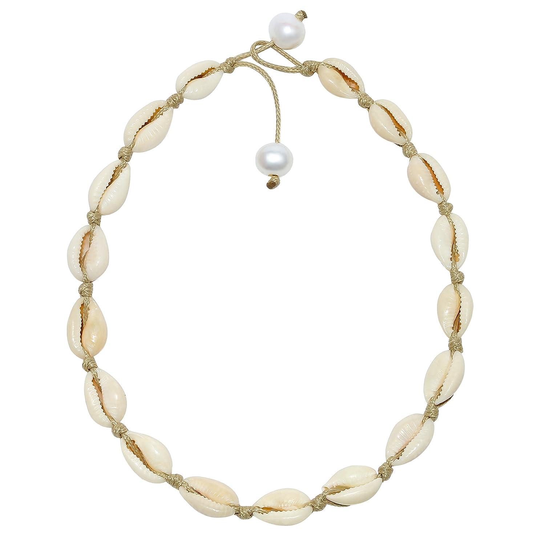 POTESSA Natural Shell Beads Handmade Hawaii Wakiki Beach Choker for Girls and Ladies PN-34