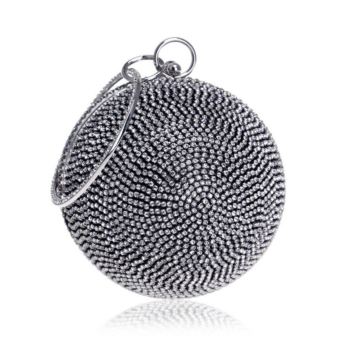 Sixminyo Frauen Runde Runde Runde Ball Handtasche Diamant Abendtasche Clutch Handtasche Umhängetasche (Farbe   schwarz) B07P38SLGL Clutches Moderne und stilvolle Mode d81911