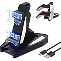 Controller Charging Station Compatible with PS5 DualSense Controller, Fast Dual USB Charger Dock Station Stand…