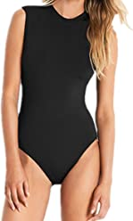 55053e3b4d crazycatz Womens Cap Sleeve One Piece Swimsuit High Neck Open Back Cut Out one  Piece