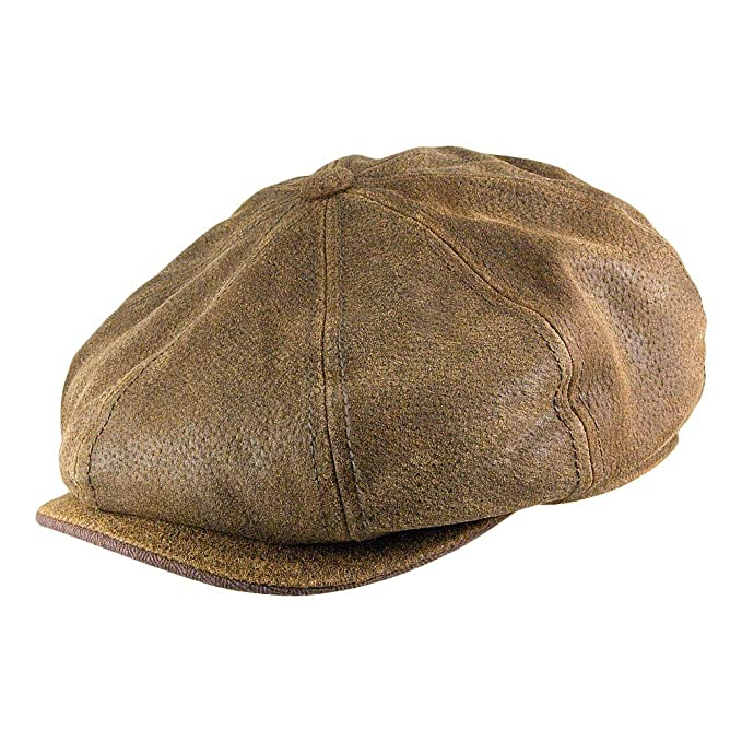 841f859e Stetson Hats Burney Leather Newsboy Cap - Brown: Amazon.co.uk: Clothing