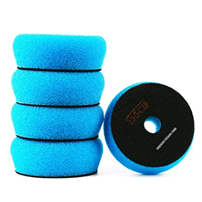 "SGCB Pro 3"" RO/DA Foam Polishing Pad, Medium Light Cutting Flat Car Foam Buffing Pad Breathable Hook & Loop Finishing Sponge Pad for Second Polish Moderate Scratch Oxidation Defect Removal, 5-Blue: Automotive"
