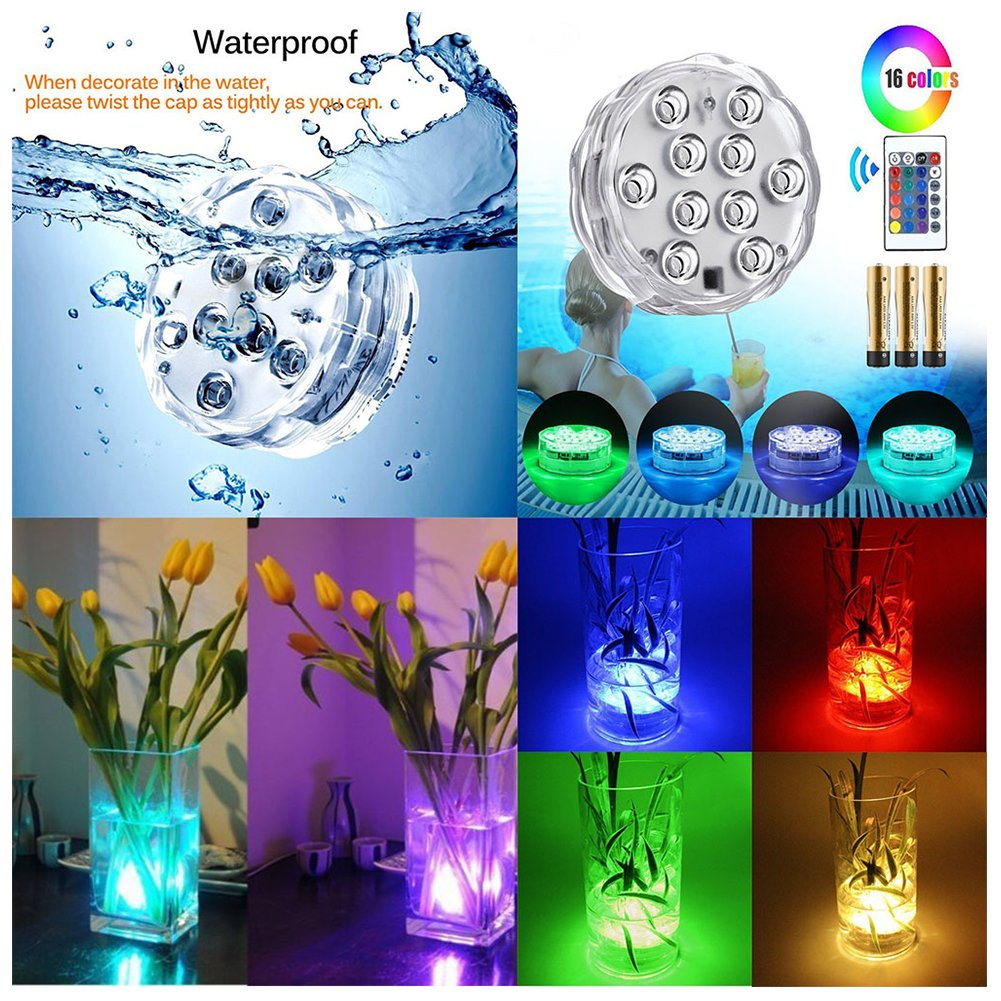 Submersible LED Light Bulbs with Remote Control Battery-Operated LED Light with IR Remotes for Aquarium Pond Halloween Holiday Lighting Heckia Color Changing LED Light 2PCS