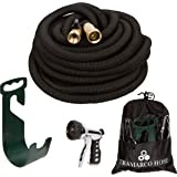 All New Improved 100 Ft Expanding Garden Hose, the Strongest Expandable Hose Triple Layer Latex Core, Solid Brass Fitting Shut Off Valve and Tough Polyester Fabric, Metal Sprayer and Plastic Holder