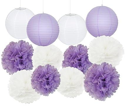 bridal shower decorationelephant baby shower decorations 12 pcs white lavender purple tissue paper pom