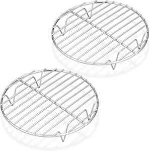 P&P CHEF 7½-Inch Round Rack for Cooking Steaming Cooling Drying Baking, Fit Air Fryer Stockpot Pressure Cooker, Stainless Steel Made, 2 PACK - Oven & Dishwasher Safe