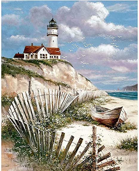 DIY Diamond Painting for Adult Full Square Drill Paint with Diamonds Kits 5D Art for Wall Decor The Seaside Lighthouse 40x50cm//16x20inch