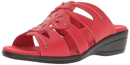 Easy Street Women's Raelyn Wedge Slide Sandal, Red Pebble, ...