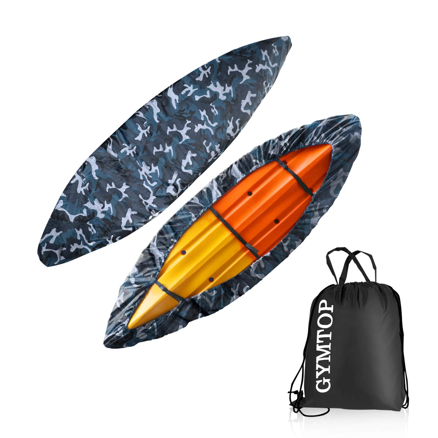 GYMTOP 7.8-18ft Waterproof Kayak Canoe Cover-Storage Dust Cover UV Protection Sunblock Shield for Fishing Boat/Kayak/Canoe 7 Sizes [Choose Color] (Ocean Camo(Upgraded), Suitable for 10.8-12ft Kayak) by GYMTOP