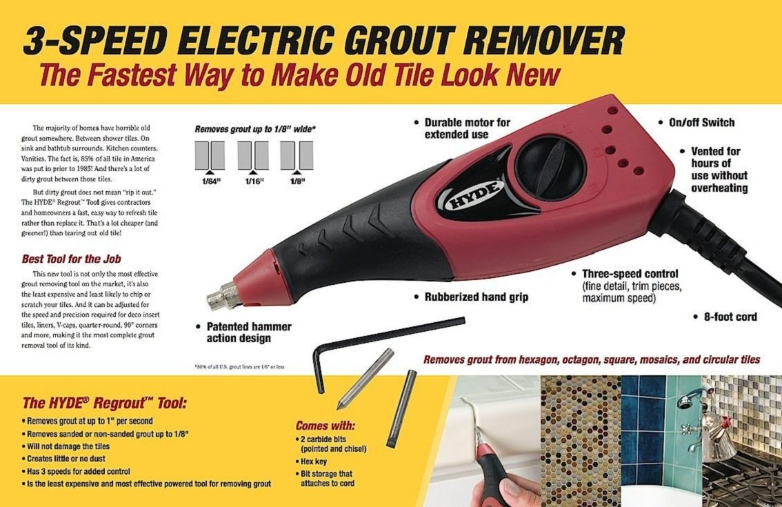 Hyde Tools Inc Hyde 19500 Regrout Tool 3 Speed Electric Grout