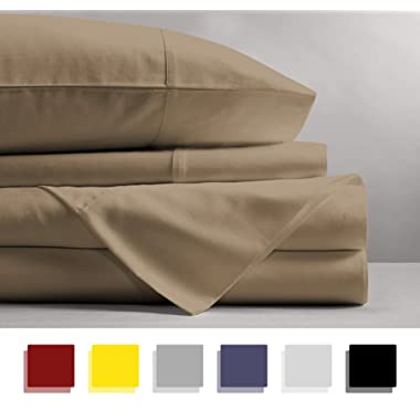 Mayfair Linen 100% Egyptian Cotton Sheets, Sand King Sheets Set, 800 Thread Count Long Staple Cotton, Sateen Weave for Soft and Silky Feel, Fits Mattress Upto 18'' DEEP Pocket