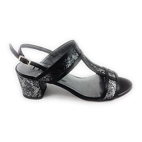 5b00d1b5c6f53 HB B980 Black and Silver Print Leather Sandal 4: Amazon.co.uk: Shoes ...