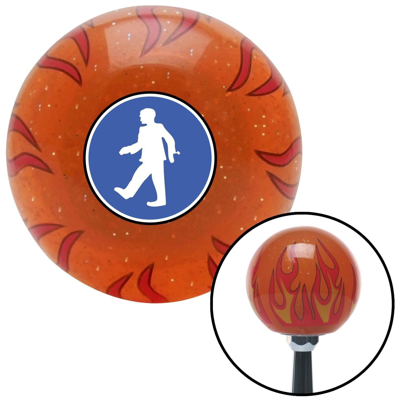 American Shifter 260171 Orange Flame Metal Flake Shift Knob with M16 x 1.5 Insert Man Walking
