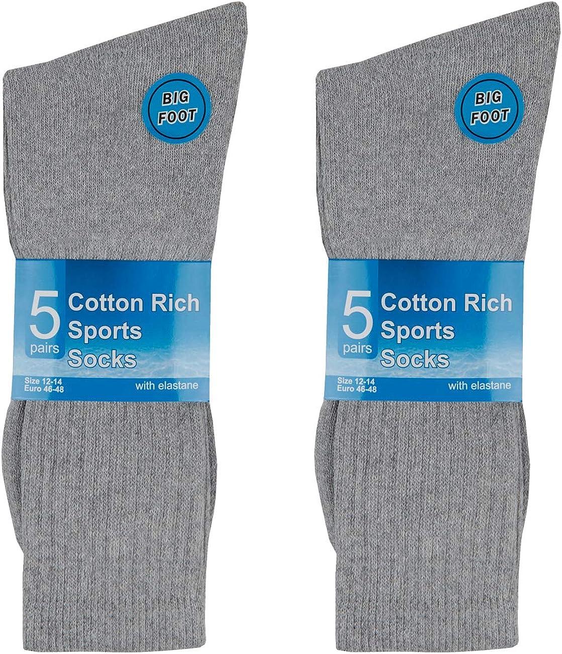METZUYAN Mens 10 Pairs Sports Socks Cotton Rich Plain Black White Grey Size 6-11