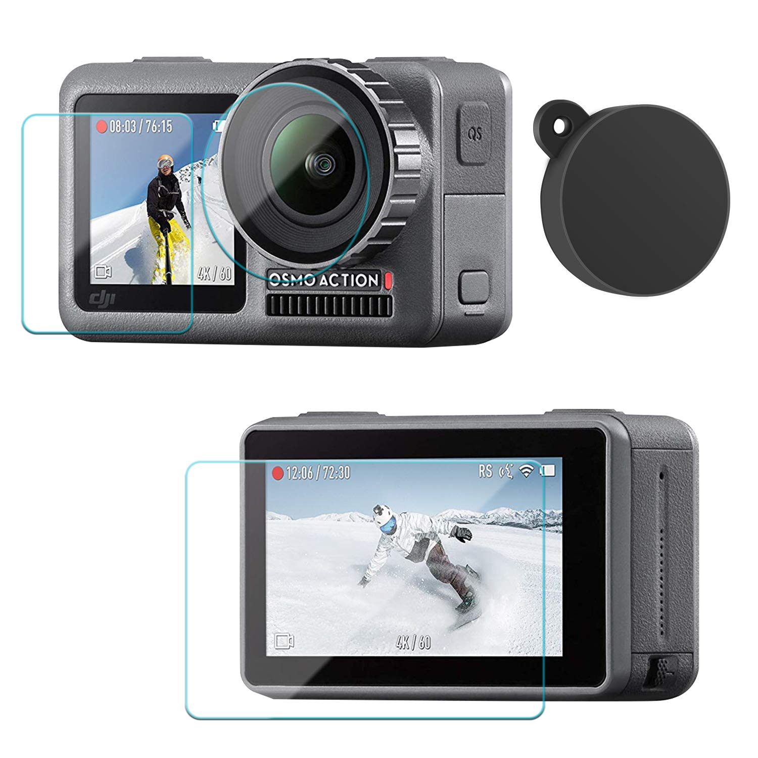 Lens Cap Cover Protective Accessories for DJI Osmo Action Camera 2-Pack Skyreat Screen Protector Film