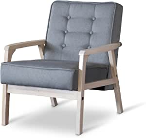 : Baxton Studio Mid Century Timor Club Chair, Gray