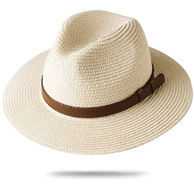 1fc0cb83e FURTALK Panama Hat Sun Hats for Women Men Wide Brim Fedora Straw ...
