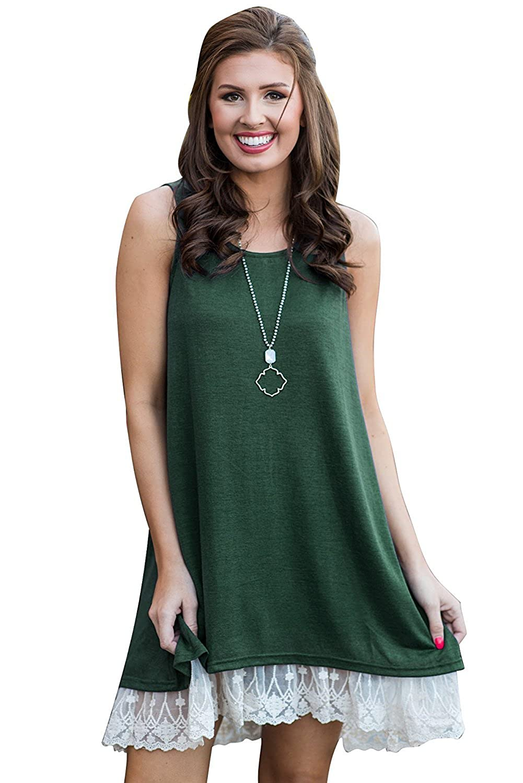 Green JMSHIHUA Womens Dress Summer Casual Dresses with Lace Hem Sundress Sleeveless TShirt Dress