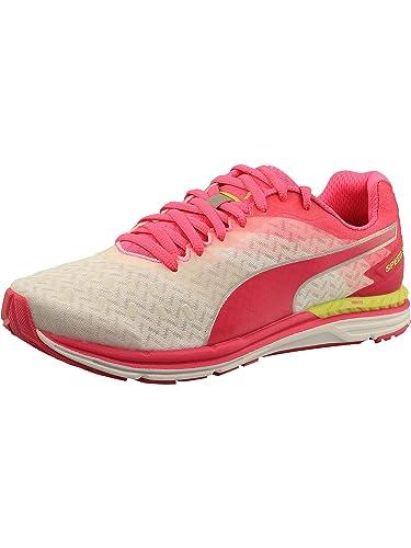 3ffdc64e2bb7 PUMA Women s Speed 300 Ignite White Pink Glow Silver Ankle-High Running Shoe