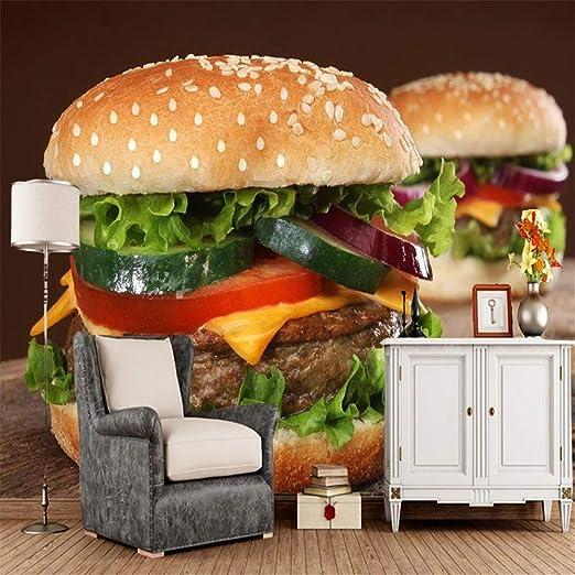 gift0229 3D Comida Hamburguesa Papel Mural Cocina Restaurante ...