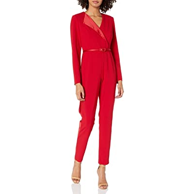 Adrianna Papell Women's Long Sleeve Tapered Jumpsuit with Belted Waist: Clothing
