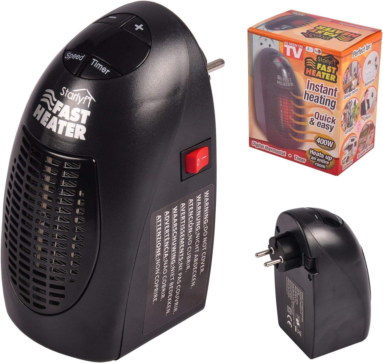 Fast Heater Visto en TV Calefactor Cerámico 400W Calentador Eléctrico, Portátil y Compacto con Termostato ajustable Para Oficina, Garaje, Baño - Color Negro