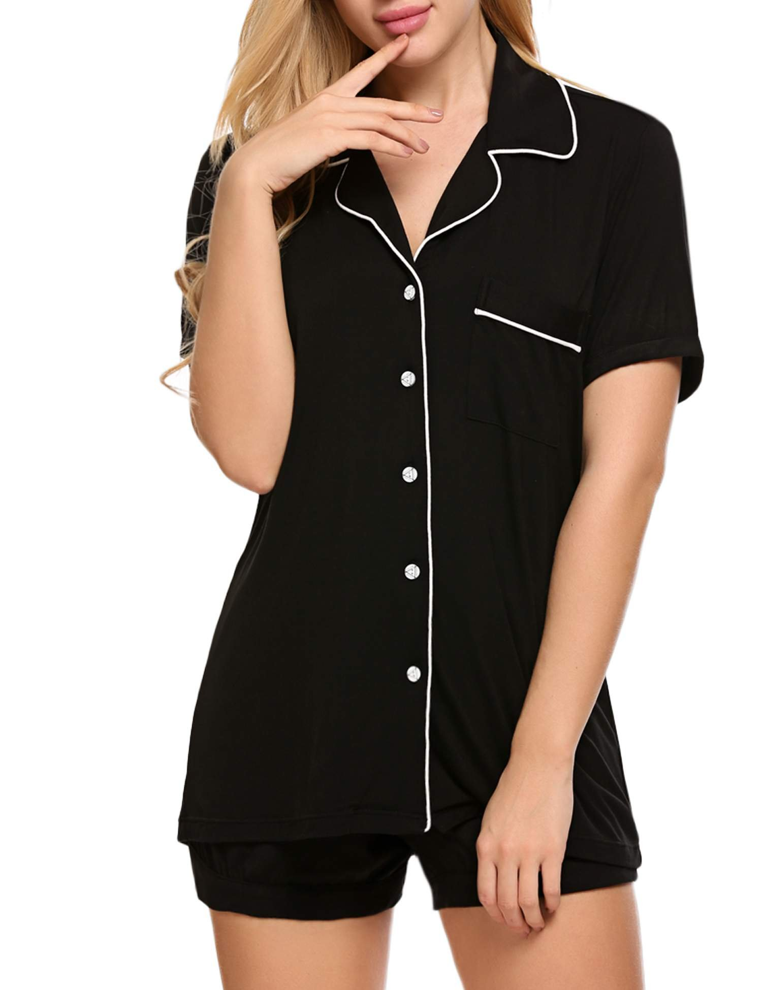 Ekouaer Slip Pajama Set Womens Short Sleepping Wear Set(Black, Medium) by Ekouaer (Image #4)