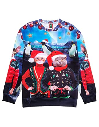 Ugly Christmas Sweater Style 3D Men Women Cat T-Rex Trump Pullover  Sweatshirt Cats North 887ffaa45