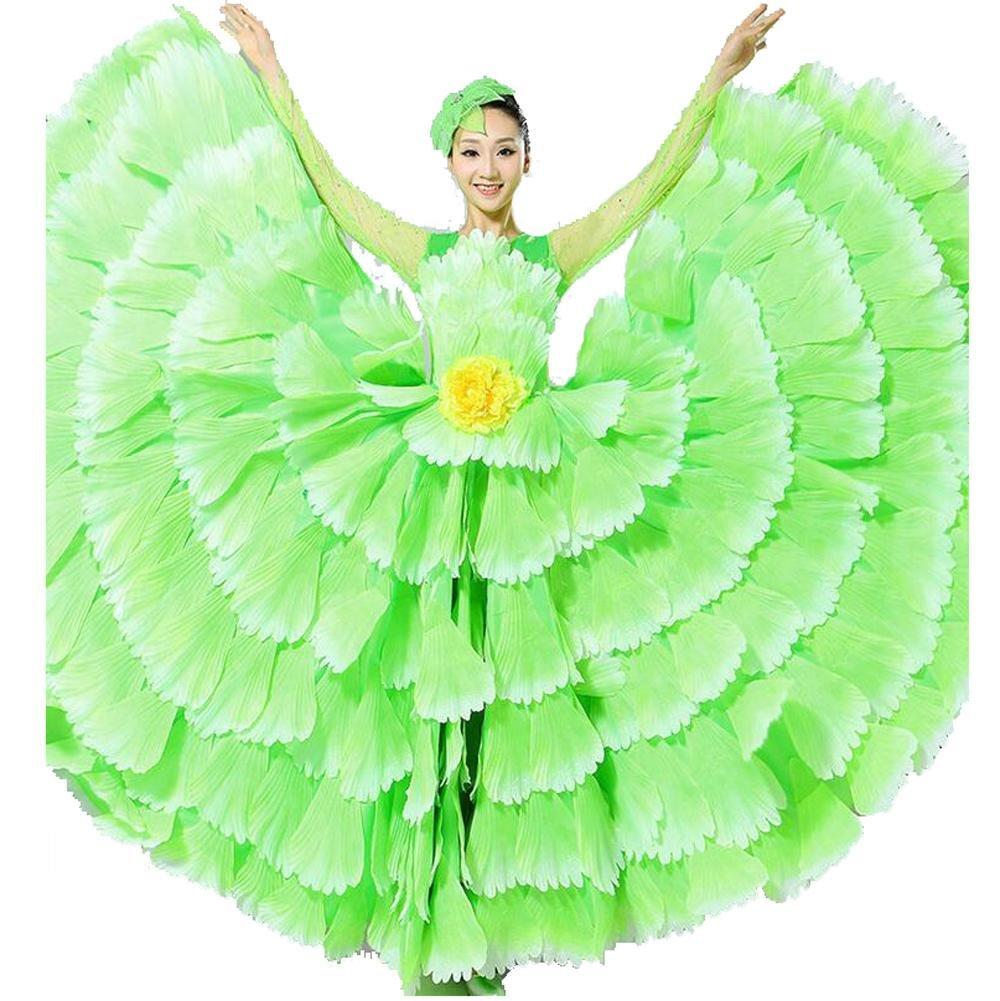vert jupe 540 XL Wgwioo femmes FlaHommesco Robe 180 360 540 720 Devert Fleurs Doubles Manches Pétales Jupe Ouverture Grand Costume Moderne Chorale Costumes