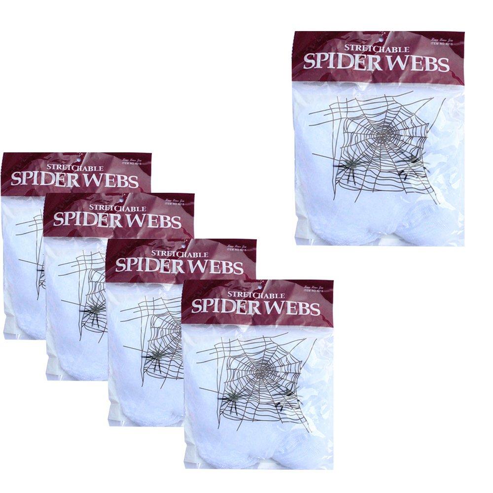 WasonGrew 5 Packs Super Stretch Spider Web Cobwebs with Plastic Spiders Indoor Outdoor Halloween Decoration