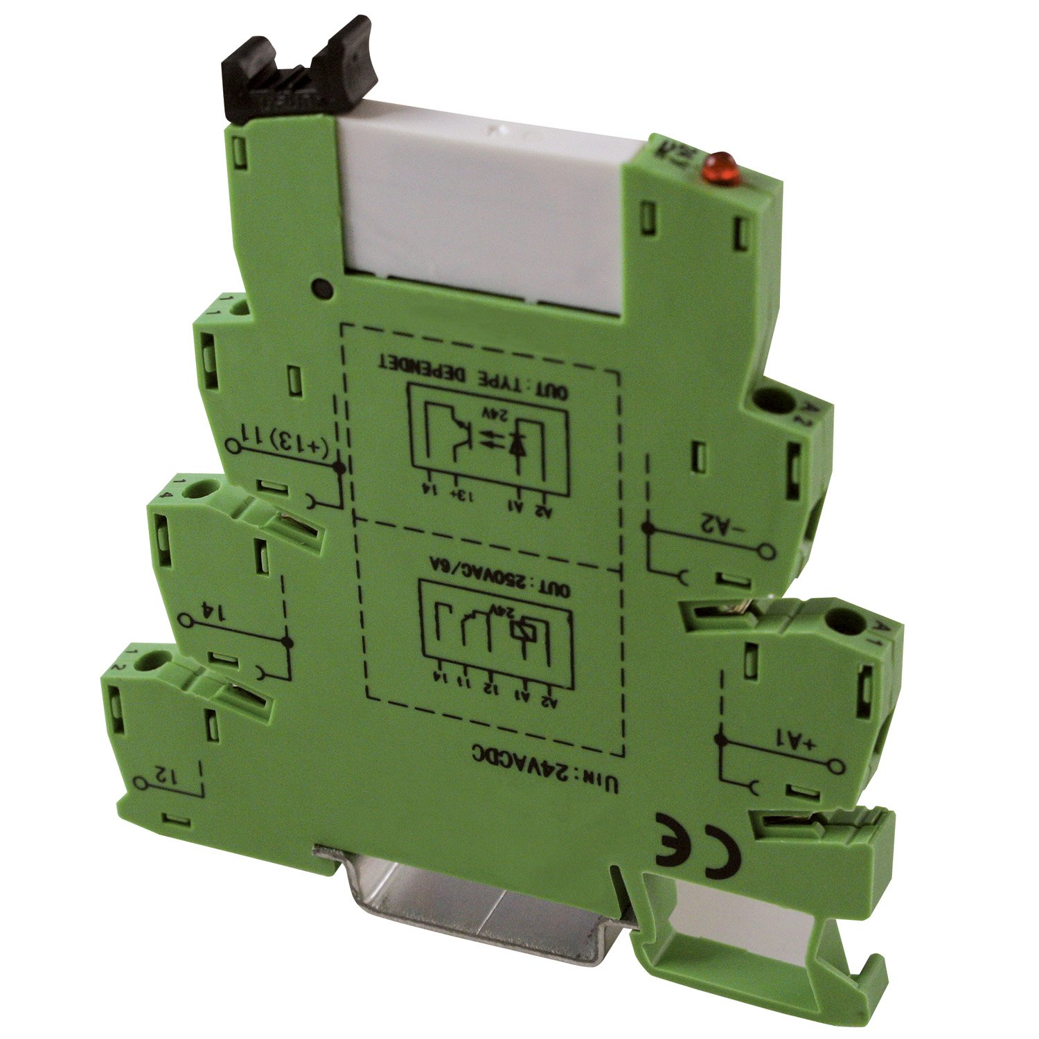 ASI ASI328003 ASIPLCREL24Vac/dc Pluggable SPDT Relay with DIN Rail Mount Screw Clamp Terminal Block Base, 6 amp, 250 VAC Rating, 24 VAC/DC Coil