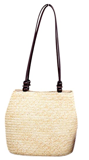 Bronze Times (TM) Womens Vintage Beaded Straw Braid Boho Bucket Shoulder Bag  (Beige 85a85ac80fcca