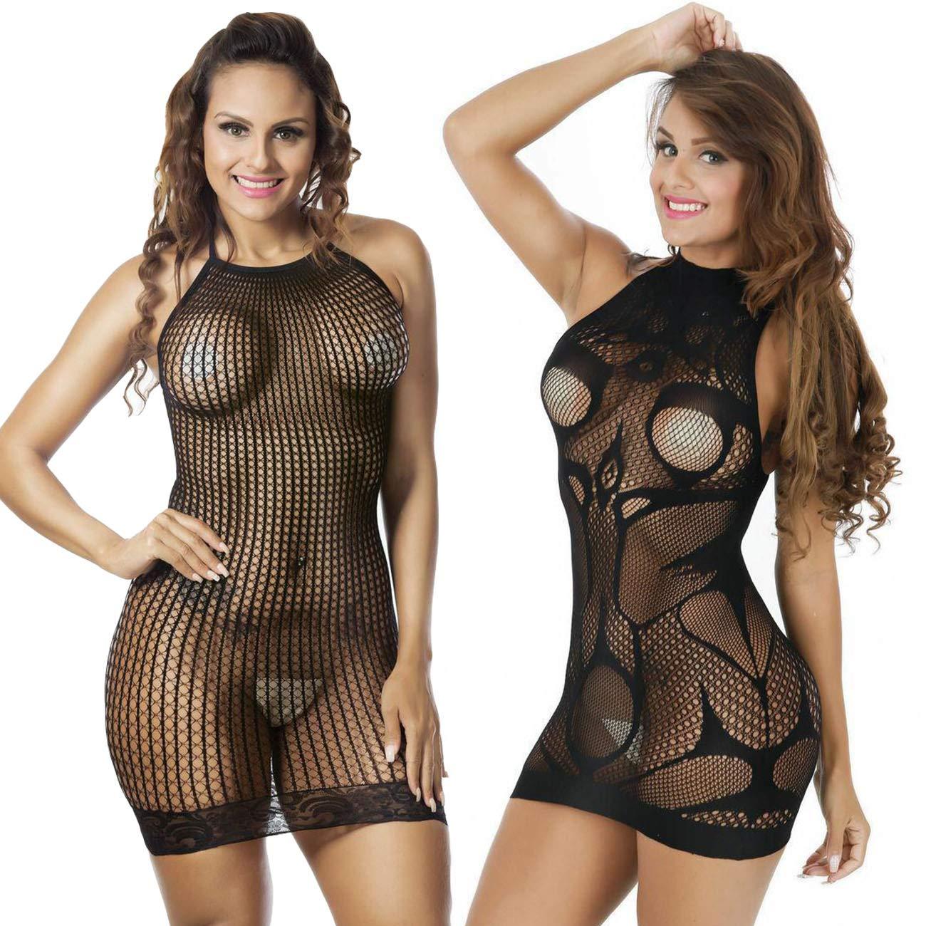 LOVELYBOBO 2 Pack Babydoll Lingerie Donne Chemise Costume Negligrees per Nuova Moda Design Pigiama Nero
