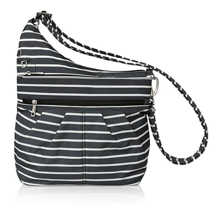 Travelon Anti-Theft Signature 3 Compartment Crossbody, Straight Pocket (Black w/White Stripe - Exclusive Color)