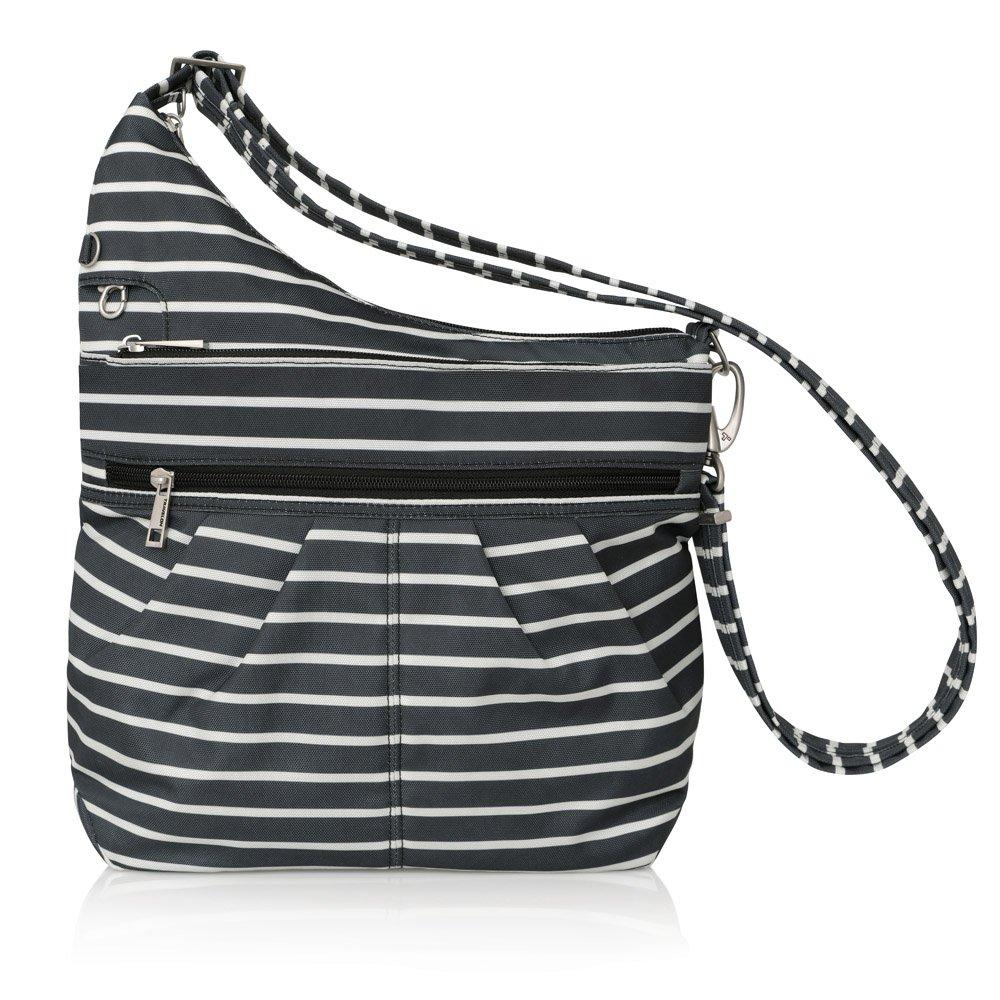 Travelon Anti-Theft Signature 3 Compartment Crossbody, Straight Pocket (Black w/White Stripe - Exclusive Color)