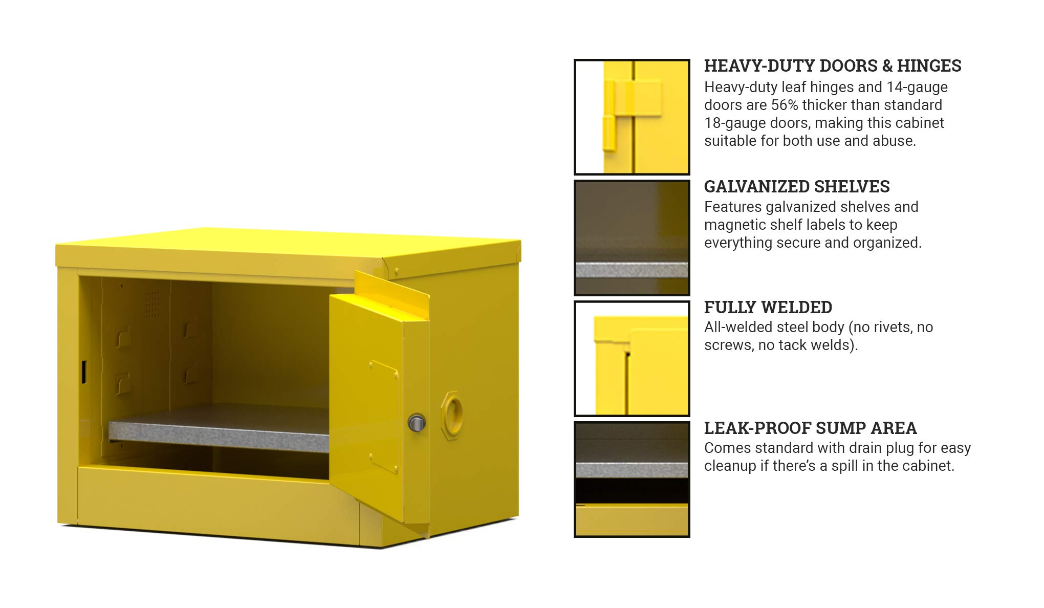 Strong Hold Point of Use Flammable Safety Cabinet - 6 Gallon, Manual Close Doors