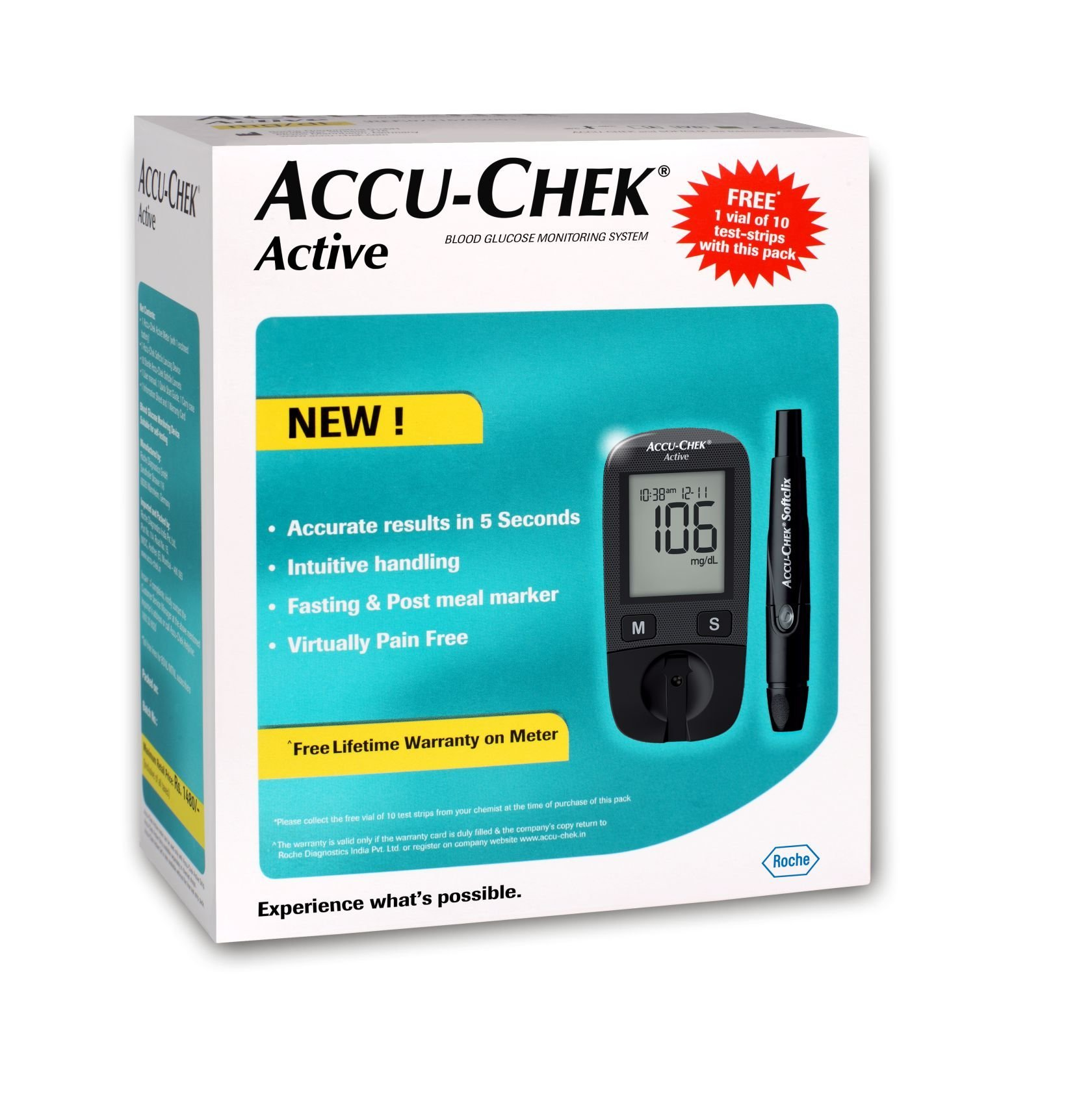 Accu-Chek Active Blood Glucose Meter Kit (Multicolor)( Vial of 10 strips free) by ACCU-CHEK