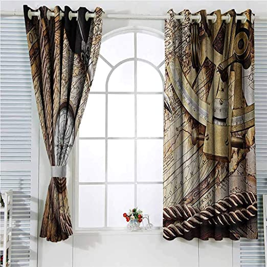 Amazon Com Compass Decor Rustic Curtains For Living Room Vintage Navigation Voyage Themed Lifestyle Image With Sextant And Compass Discovery Tools Art Living Room Decor Blackout Shades W72 X L107 Inch Cream Kitchen