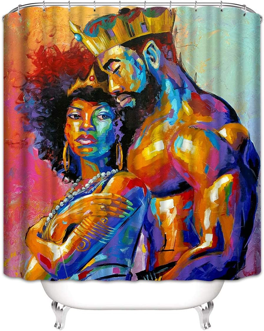 "Joyloce African King and Queen Shower Curtain Set with 12 Hooks Polyester Fabric Waterproof Bathroom Accessories Home Decor 72"" X 72"""