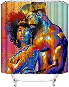 """Joyloce African King and Queen Shower Curtain Set with 12 Hooks Polyester Fabric Waterproof Bathroom Accessories Home Decor 72"""" X 72"""""""