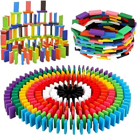 BigOtters 360PCS Super Domino Blocks, 12 Colors Bulk Dominoes Wooden Domino Blocks Colored Dominoes Building Block Tile Game Racing Educational Toy for Kids Birthday Party Favor
