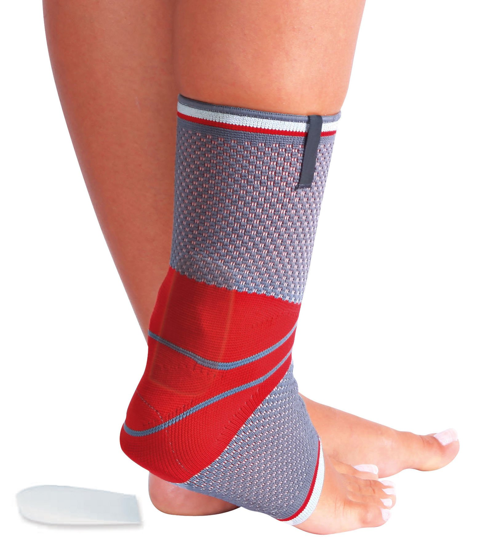 ORTONYX Achilles Tendon Support Ankle Brace Compression Sleeve - L Gray/Red