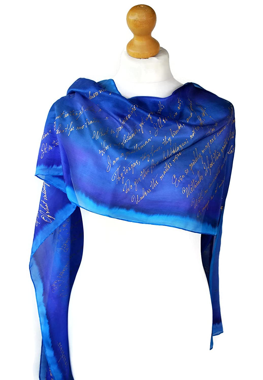 bluee Shakespeare Hand Painted Pure Silk Unique Scarf Giftwrapped,