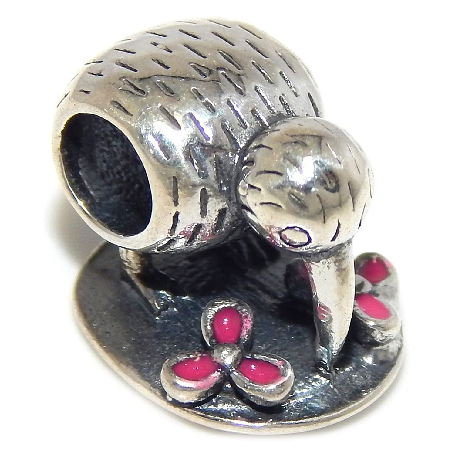 cheap Pro Jewelry 925 Solid Sterling Silver Kiwi Bird Drinking with Pink Flowers Charm Bead save more