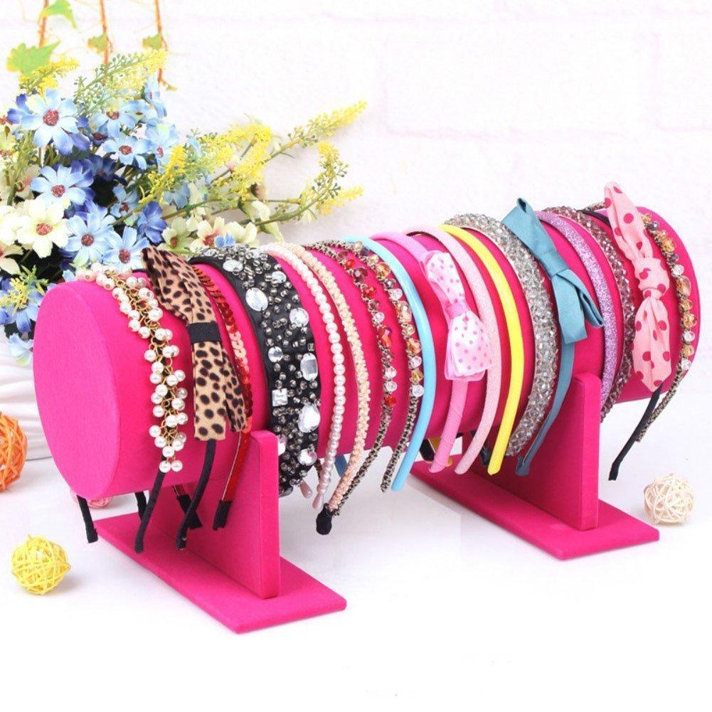 Sunny-business Jewelry Velvet Headband Hair Clasp Holder Display Stand Rack (pink)