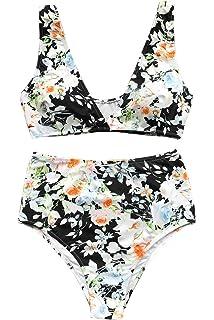 299105282fe67 CUPSHE Women s High Waisted Push Up Bikini Set Mist and Noct Print Swimwear